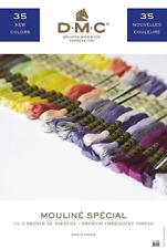 DMC THREAD COLOUR CARD WITH REAL THREAD SWATCHES INCLUDES 35 NEW COLOURS