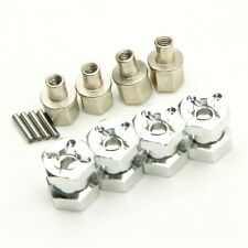 Alum 12mm Hex Adaptor Wheel (4) Hub 15mm Offset For SCX10 WRAITH 4WD Silver