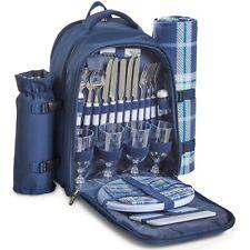VonShef 4 Person Picnic Backpack Cooler Bag W/ Tableware & Blanket - Navy Tartan