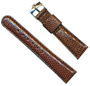 19mm Brown Genuine Lizard MB Strap Tang Leather Lined & Gen. Rolex Steel Buckle
