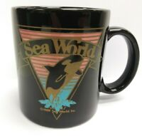Vintage 1989 Sea World Black/Pastels Coffee Mug/Cup Shamu Orca Whale Collectible