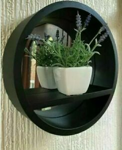 "12"" BLACK Round Mirror with Shelf Wall Mount  Bathroom Bedroom Home Decor"