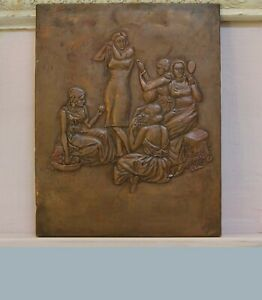 PICTURE STAMPING PLAQUE  COPPER WOMEN IN DAILY LIVE