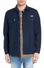 NEW OBEY NAVY BLUE MISSION MILITARY LONG SLEEVE BUTTON UP SHIRT JACKET LARGE L