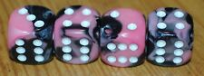 DUDDS DICE PINK/BLACK GEMINI w/WHITE DOTS VALVE STEM CAPS (4 PACK) #23