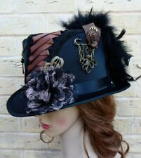 Unique Black Brown Steampunk Top Hat Feathers Gears Cogs Chains Keys (Z)