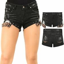 Womens ladies Denim Ripped Distressed Destroyed Leopard Studded Hot Pant Shorts
