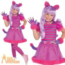 Girls Cheshire Cat Costume Teen Pink Kitty Fancy Dress Halloween Animal Outfit Age 10 - 12 Years