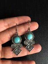 Earrings Silver Turquoise Hippie Bohemian Ethnic Boho Tribal Bohemian E1129