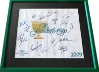 Phil Mickelson Couples Els Goosen +15 signed 2009 Presidents Cup PGA flag framed
