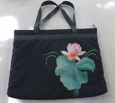 Hand Painted Gray Pink Green Lily Pad Shoulder Handbag Bag Tote Philippines