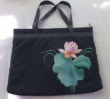 Hand Painted Gray Pink Green Lily Pad Shoulder Handbag Bag Tote Philippines