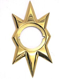 "TRIANGLE Co. 100 STARBURST DOOR ESCUTCHEON, KWIKSET 2-5/8"", POLISHED BRASS CAST"