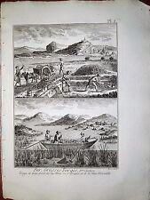 91-3-h Gravure 1783 Panckoucke fer grosses forges, transport de la mine en grain