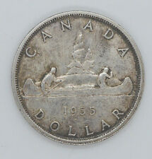 1955 Canadian silver coin One Dollar AU-50 condition