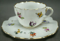 Donath Dresden Hand Painted Scattered Flowers & Gold Demitasse Cup & Saucer A