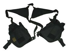 SWAT BLACK Tactical TWIN 2 HORIZONTAL SHOULDER HOLSTER Left  and Right w Clips