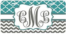 Personalized Monogrammed License Plate Auto Car Tag Clover Chevron Gray Teal