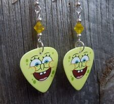 Sponge Bob Smiling Guitar Pick Earrings with Blue Swarovski Crystal Dangles