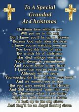 A Special Grandad At Christmas Memorial Graveside Poem Card & Ground Stake F248