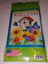 """Welcome House Flag Decorative Birdhouse Butterfly 28""""x 40"""" Beautiful flag New"""