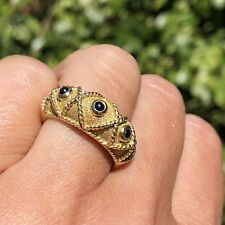 Etruscan Revival 18K Yellow Gold Blue Sapphire Cabochon Domed Wide X-Motif Ring