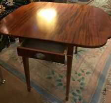 ANTIQUE HEPPLEWHITE-STYLE SCALLOP EDGE DROP LEAF TABLE