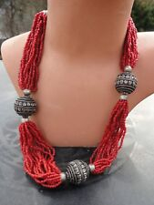 Vintage Seed Bead Tribal Necklace Hippie Style