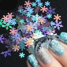 6 Boxes 3D Nail Glitter Sequins Holographic Christmas Snowflake Nail Art Decor