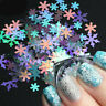 6 Boxes 3D Nail Glitter Sequins Holographic Christmas Snowflake Nail Art Decor