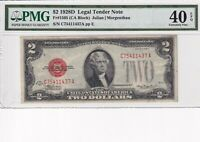 1928D PMG CERTIFIED  EXTREMELY FINE 40 CONDITION RED SEAL TWO DOLLAR NOTE