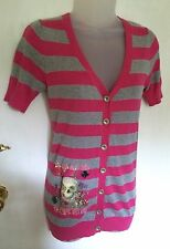 Siren Grey & Pink Stripe Embellished Button Cardigan! NEW without Tags! Size S/M