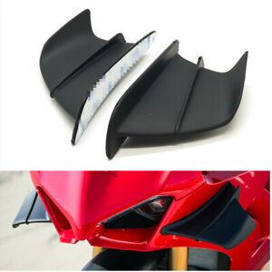 Pair Race Motorcycle Side Fairing Winglet Splitter Black For Honda Yamaha Suzuki
