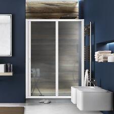 Nuovo box doccia nicchia scorrevole PVC largo120 cm bianco pannello acrilico