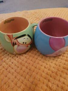 Disney  Piglet & Tigger Barrel Ceramic Mugs Bundle X2 Excellent