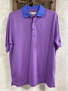 Men's Donald Ross Golf Shirt Sz Medium ~ Logo Left Sleeve ~ Pink & Blue Stripes