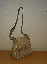 Vintage Beige & Brown Fur Flap Woven Small Hand bag Shoulder Bag Indie Grunge