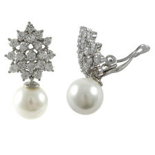 CZ Cluster 10mm White Pearl Sterling Silver Dangle Clip On Earrings