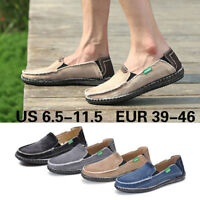 Men's Canvas Espadrille Moccasins Driving Shoes Slip On Loafers Flats Lazy Peas