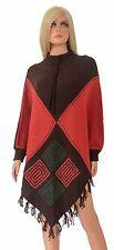 Vintage PONCHO Hippy Boho Fringe Cape Sweater Knit Ethnic Gypsy Mod Diamond Geo