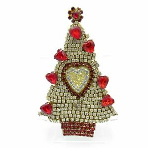 Vintage Christmas Tree Pin HEARTS for Valentines Day, Brooch, Duchin, 1988, NR