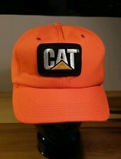 Vintage 80s CAT Catepillar Diesel Baseball Cap Hat Mining Neon Orange Trucks