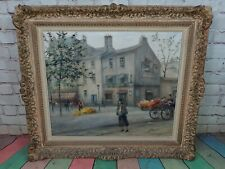 French Antique Oil On Canvas Signed Paul Gagni The Flower Sellers Early 1900's