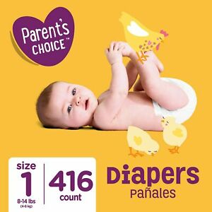 Parent's Choice Diapers, Size 1, 416 Diapers (Mega Box) White