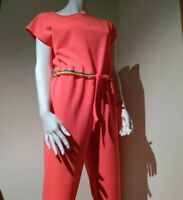 Woman Disco Jumpsuit Italian Neon Pink Coral Italy Marisa&Marie Small romper nwt