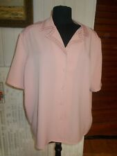 Chemisier polyester vieux rose CHRISTINE LAURE taille 52 manches courtes