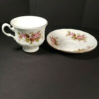 Vintage Queen Anne Bone China England Tea Cup And Saucer Pink Floral