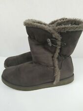 Air Walk Womes Suede Boots Faux Fur Trim Boot Winter Mid Calf Slip Size 10 Grey