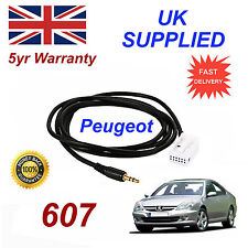 Peugeot 607 AUX 3.5mm Input Audio cable model year 2005 onwards CD Quality