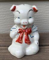 VTG SHAWNEE PIGGY BANK RED BOW TIE Ceramic Sailor Red White & Blue 1930's F/S